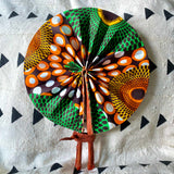 African Print Fan - Orange/Yellow /Green /Brown