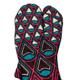 African Print Double Oven-mitt Set - Burgundy/Teal/Fuchsia/Cream