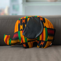 Ngozi Elephant Pillow  - Kinte Red/Black/Yellow/White