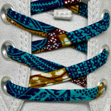 Amahle Wax Print Laces - Teal, Brown, Gold