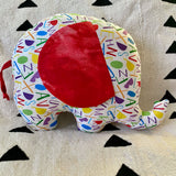 Ngozi Elephant Pillow - Red/White/Yellow/Green