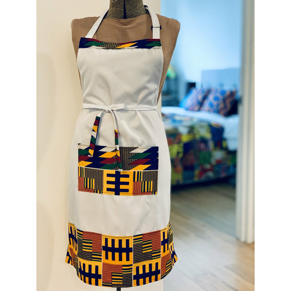 African Wax Print Apron - White/Yellow