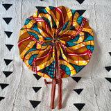 African Print Fan - Yellow/Teal/Red/Olive-Gold
