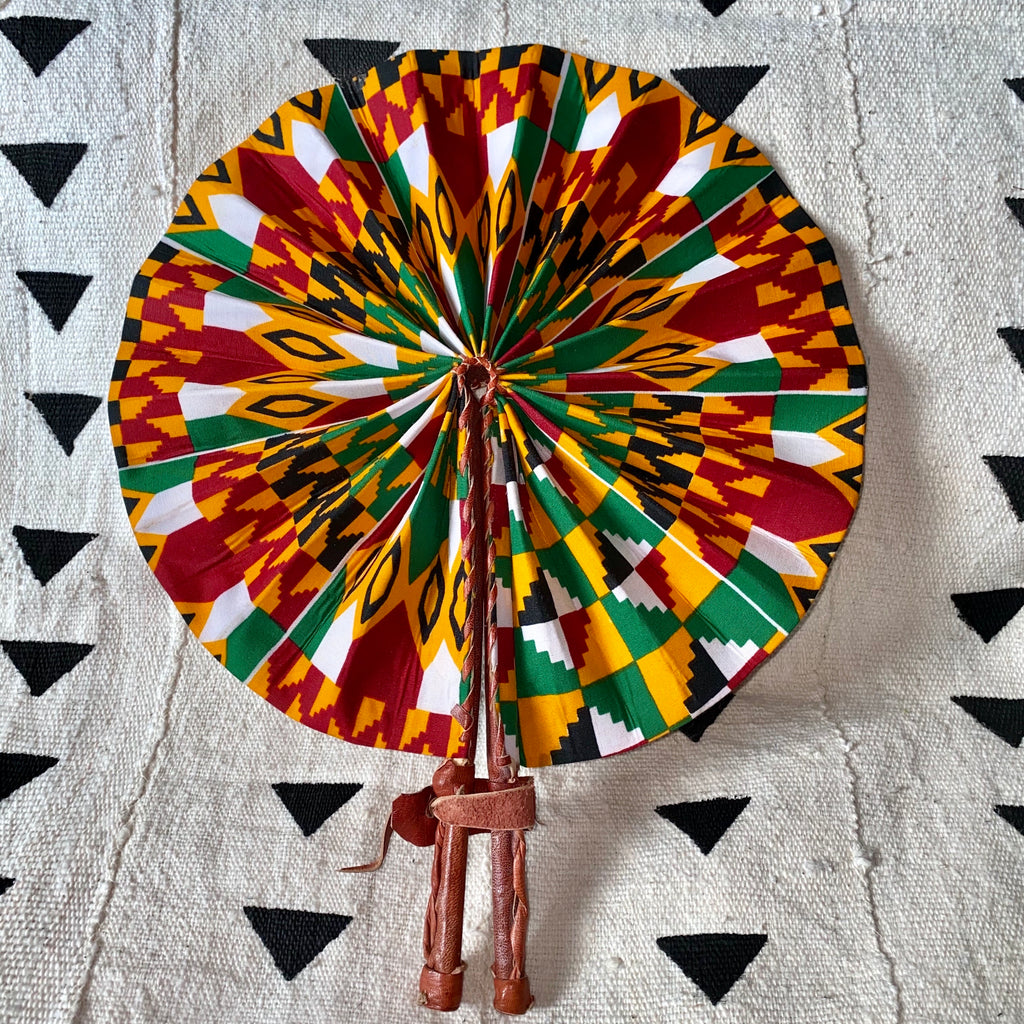 African Print Fan - Yellow/Red/Green Kenté