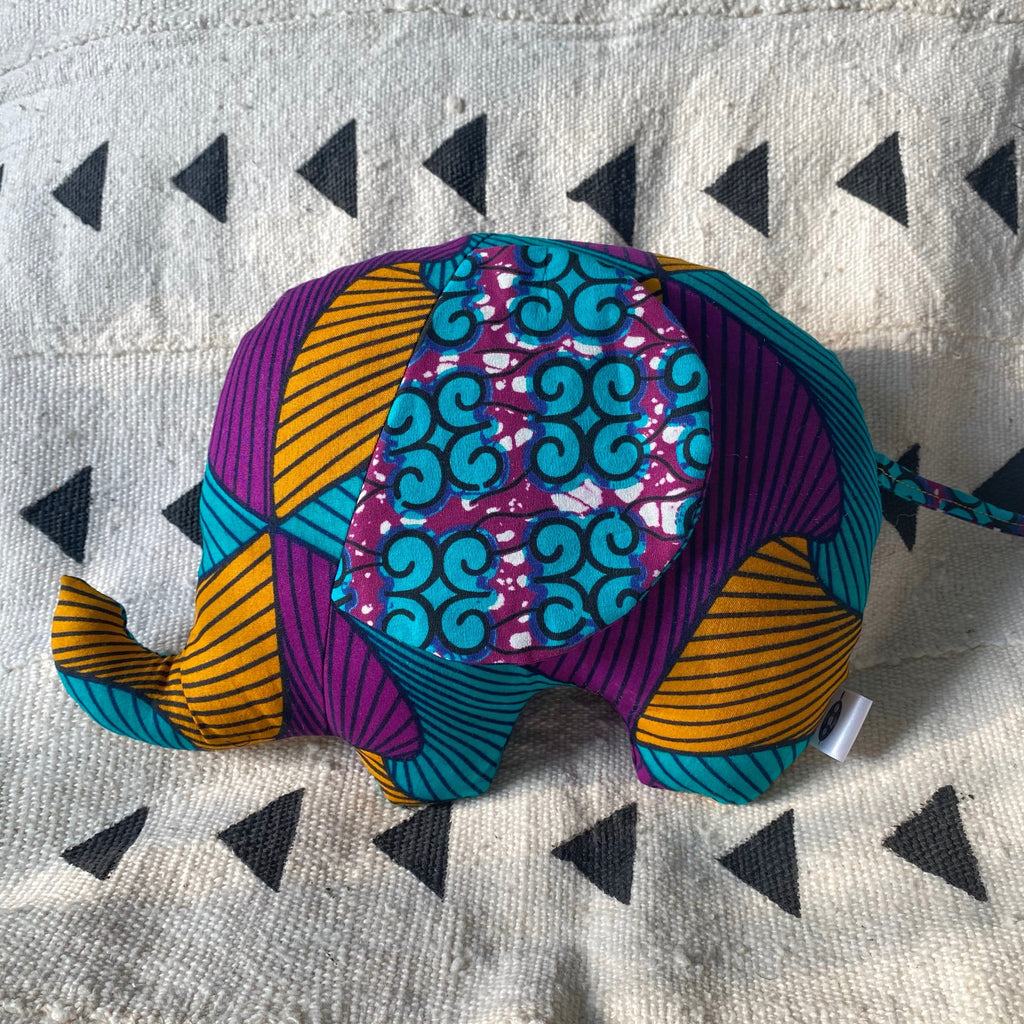 Ngozi Elephant Pillow - Purple/Teal/Gold