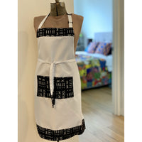 African Wax Print Apron - White/Black