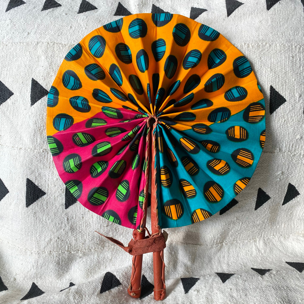 African Print Fan - Teal/Orange/Lime Green/Pink