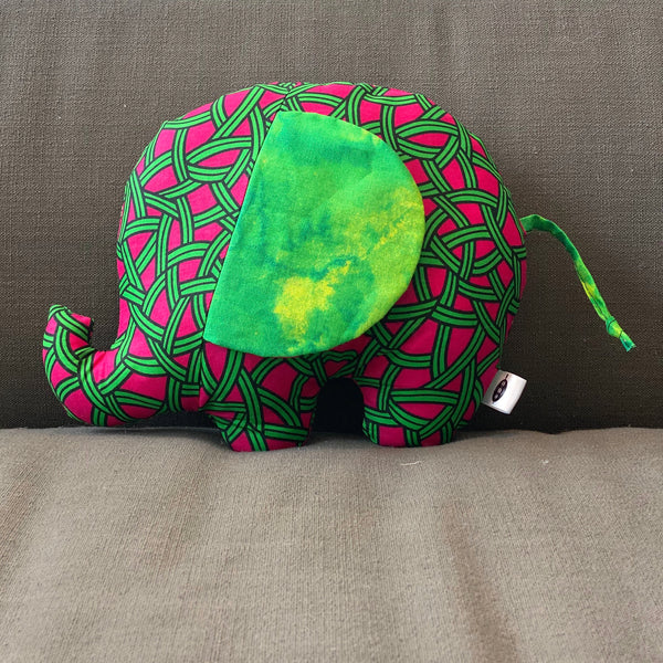 Ngozi Elephant Pillow - Pink, Green