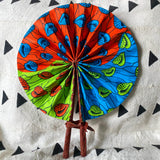 African Print Fan - Teal/Orange/Lime Green