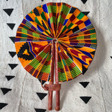 African Print Fan - Red/Yellow/Green/Cobalt Kenté
