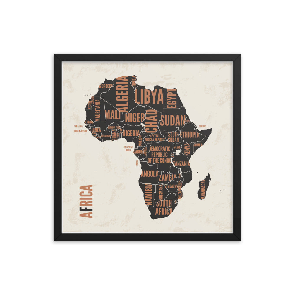 Framed 'African Countries' Graphic Map