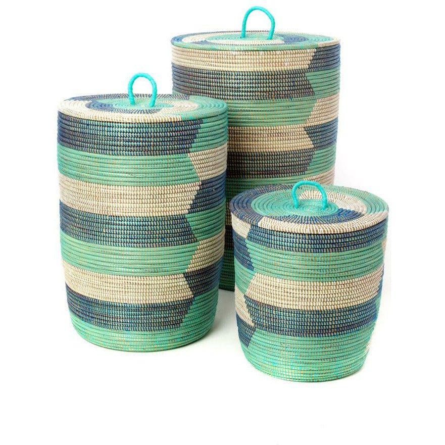 Blue Sahara Hamper Baskets - Set of 3