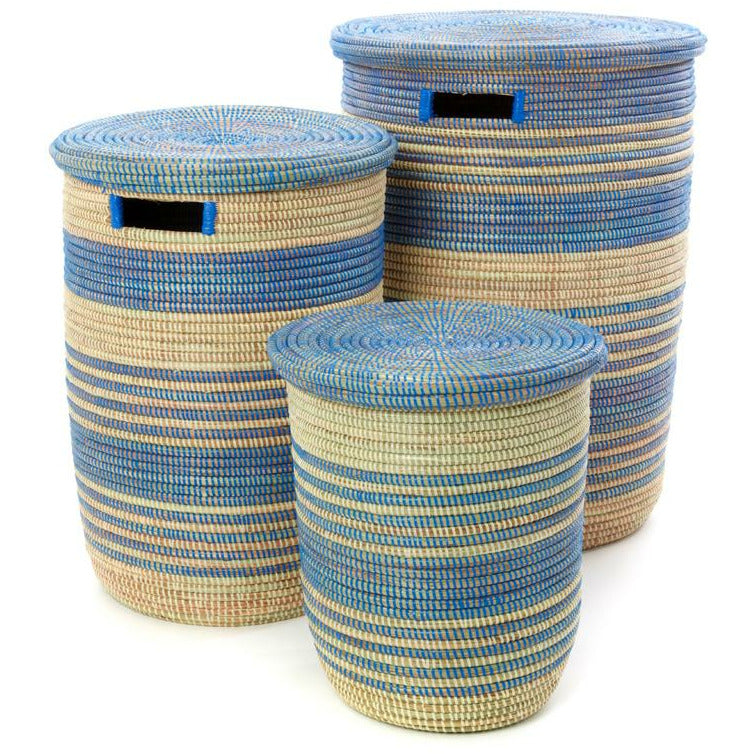 Blue Ebb & Flow Striped Hampers - Set of 3