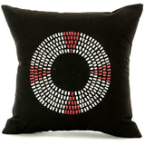 Zambian Hand Painted Red Maasai Necklace Pillow with Insert