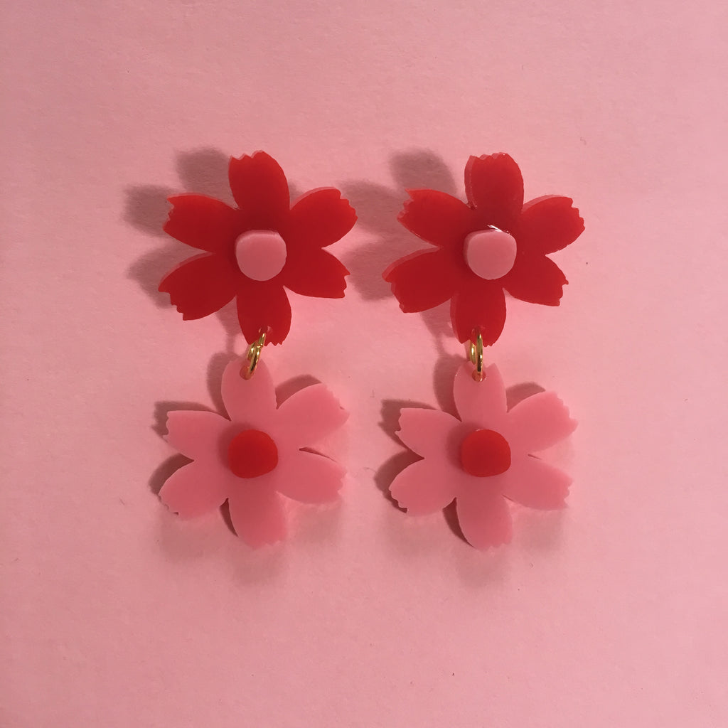 Double daisy pink red kaiyo studio double daisy pink red izmirmasajfo Image collections
