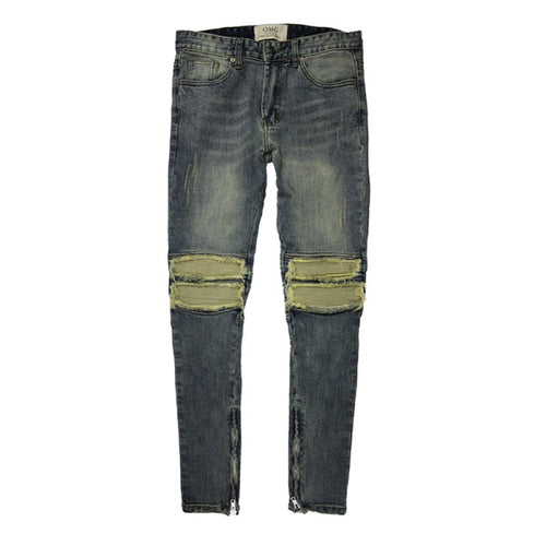 mens ripped blue jeans