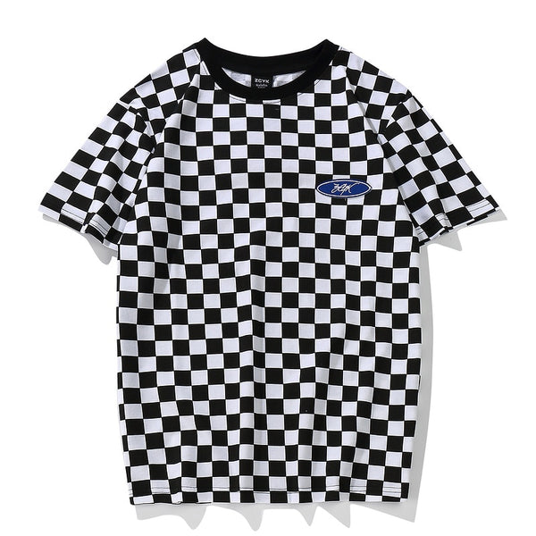 black and white checkered t shirt