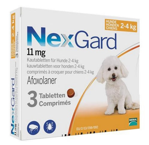 Nexgard Orange for very small dogs 4.4-8lbs (2-4kg) 3 chewable tablets