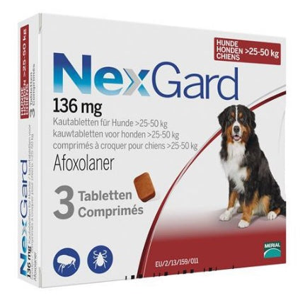 Nexgard Red for Large dogs 60-121lbs (25-50kg) 3 chewable tablets