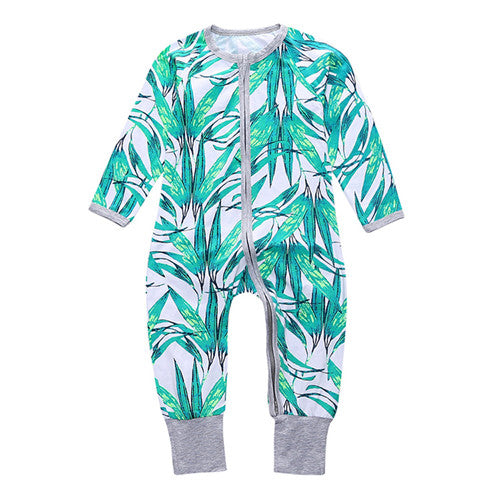 Long Sleeve Summer Palms Print Jumpsuit