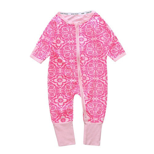 Long Sleeve Pink Mosaic Print Jumpsuit