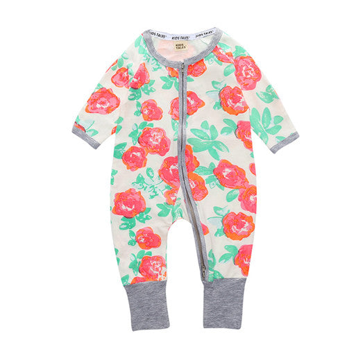 Long Sleeve Roses Print Jumpsuit