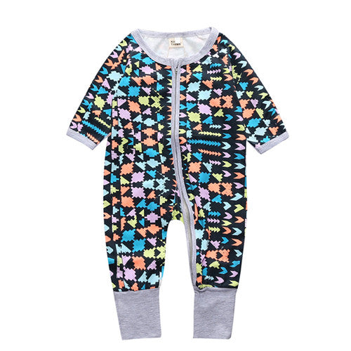 Long Sleeve Multi Color Shapes Print Jumpsuit