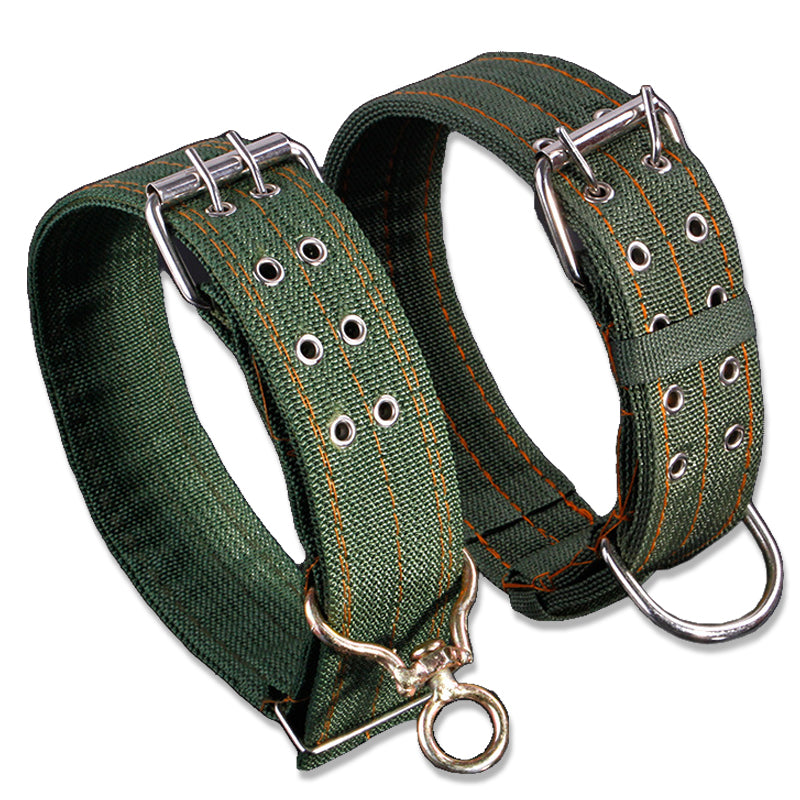 Strong Canvas Nylon Large Dog Collar with Double Row Adjustable Buckle