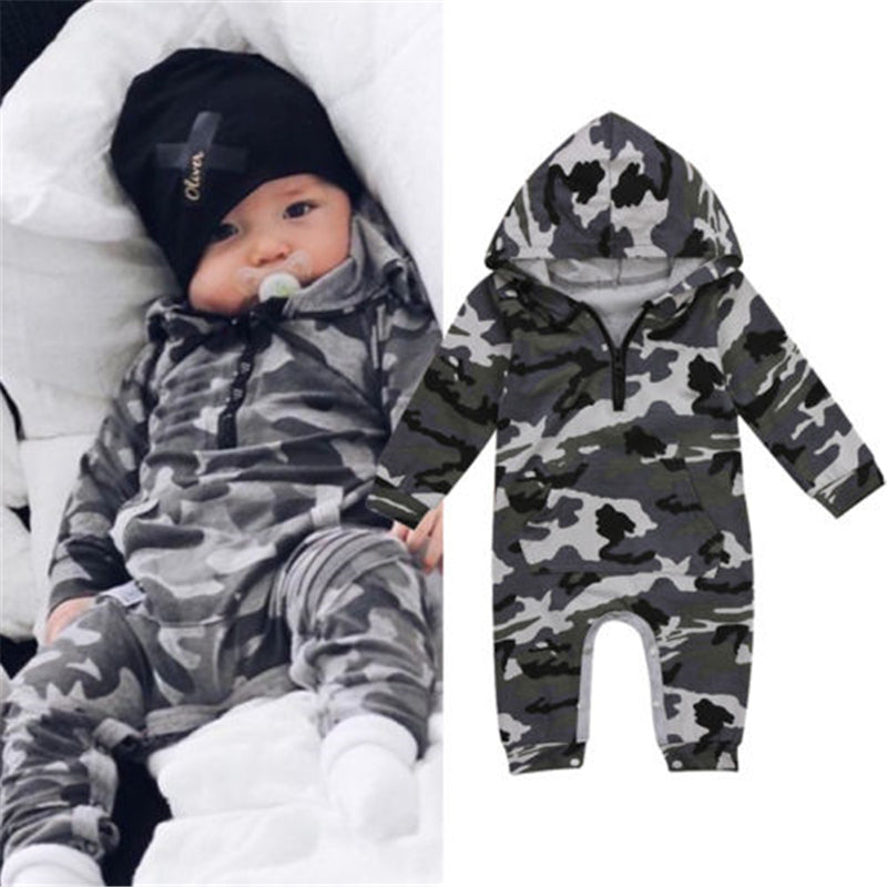Hooded Army Camouflage Jumpsuit