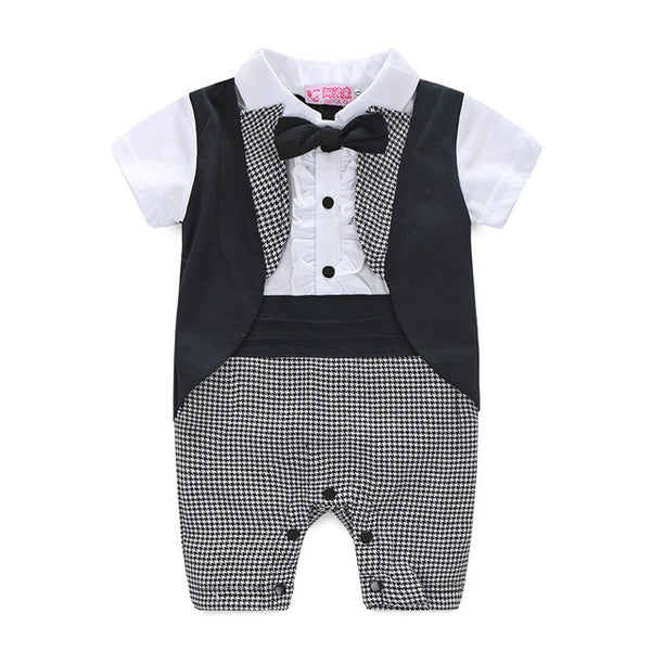 Short Sleeve Tuxedo Jumpsuit With Bow Tie