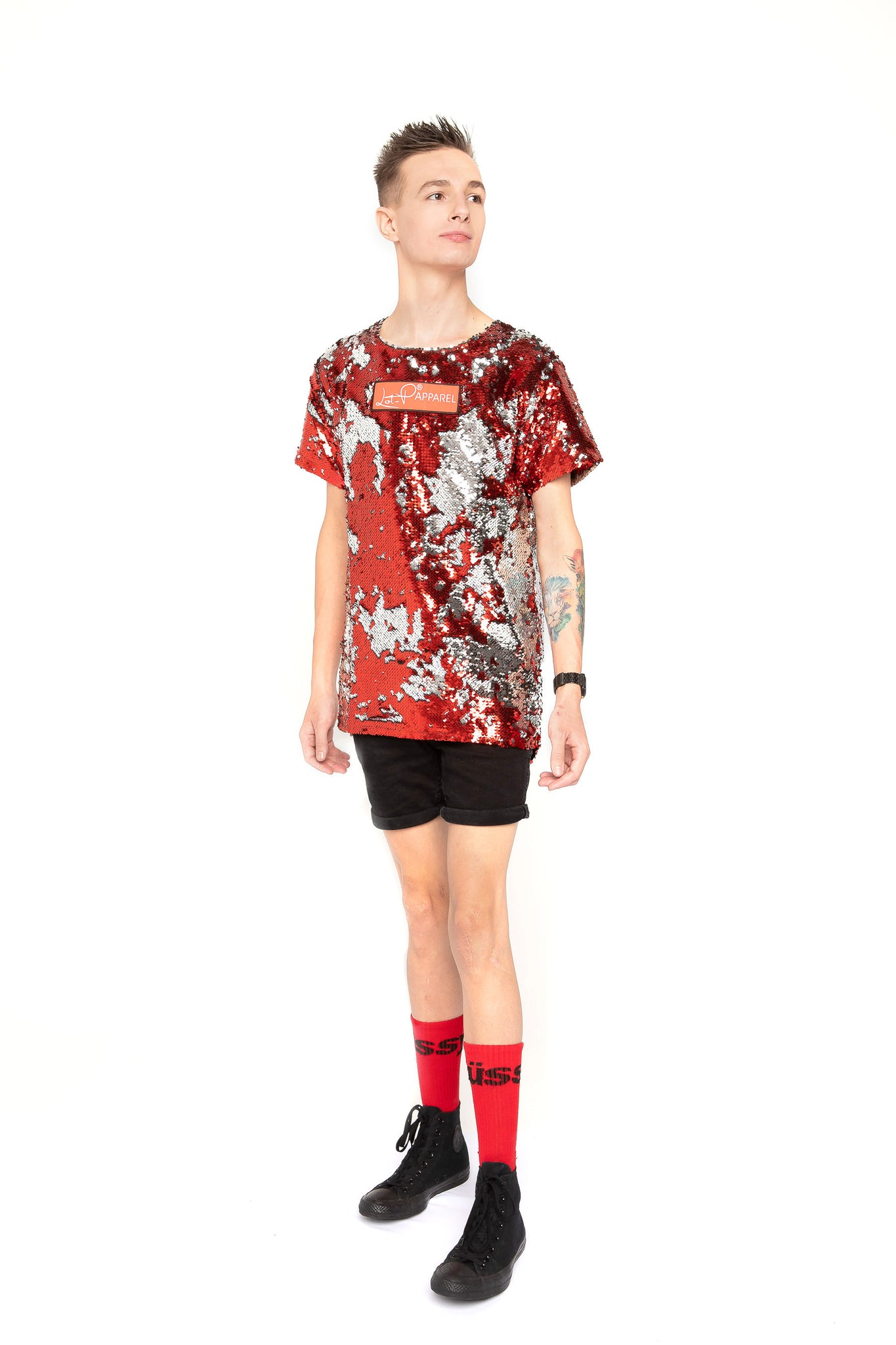 Lot-P Sequin T-shirt - RED / SILVER