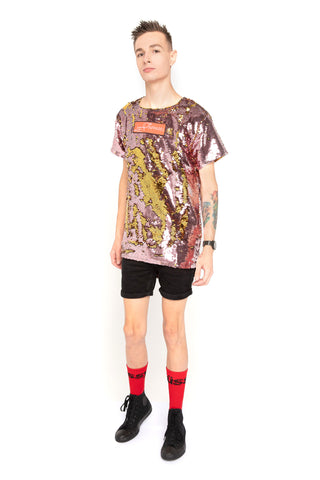Lot-P Sequin T-shirt - GOLD / ROSE GOLD