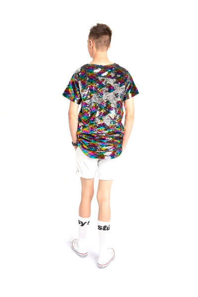 Lot-P Sequin T-shirt - RAINBOW / SILVER