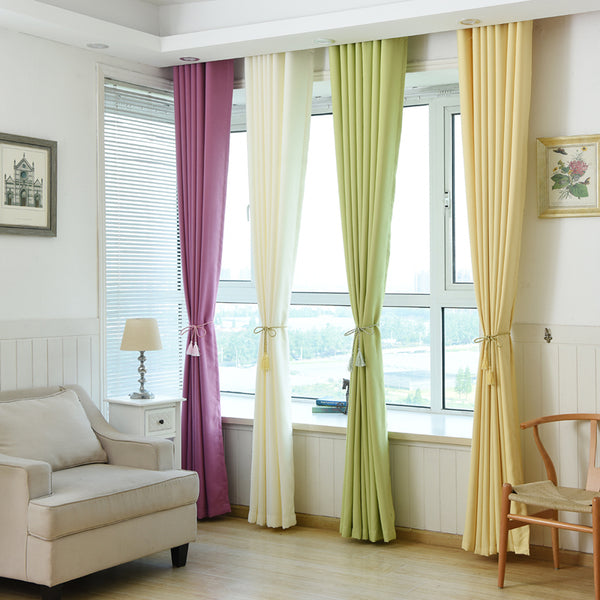 1pc Solid Color Modern Blackout Curtains Fabric
