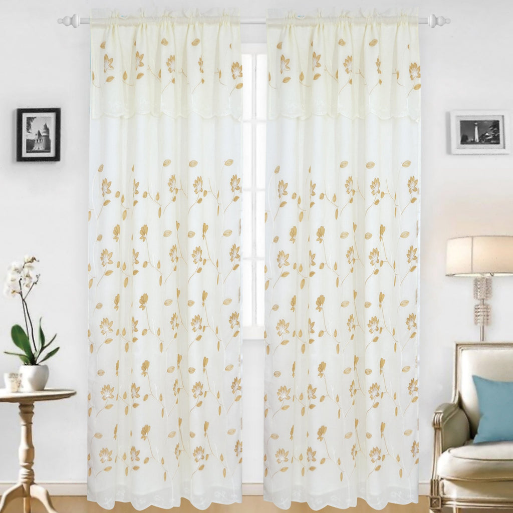 Eleanor - Snow Voile Embroidered Curtain Panel - Set of 2