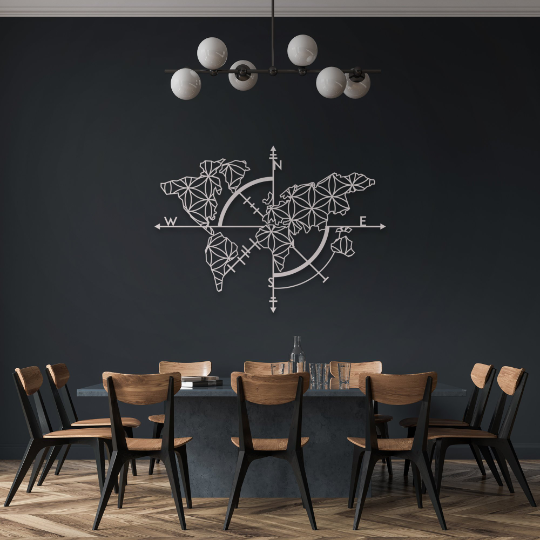 Map of Life ' White - Metal World Map (Wall Art)