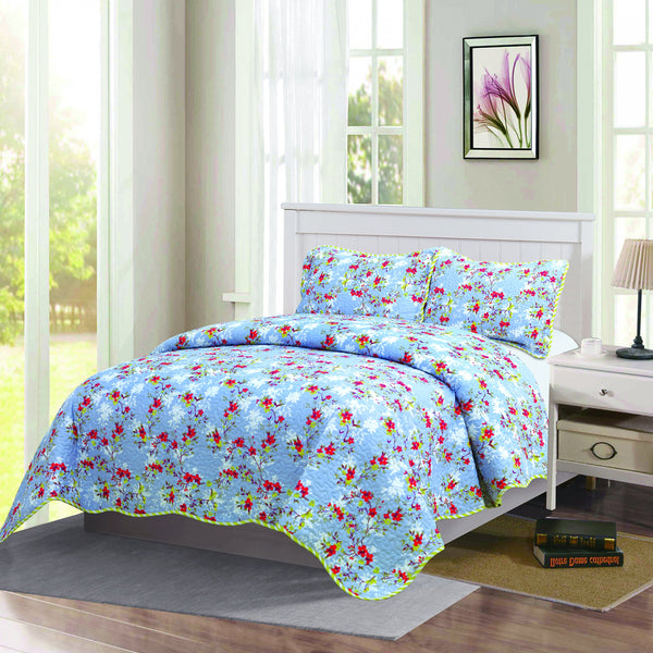 Monica 3 Piece Bedding Quilt Bedspread Set