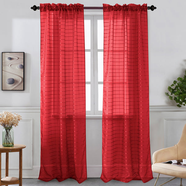 Nancy - Rod Pocket Sheer Curtain Panel - Set of Two - Assorted Colors