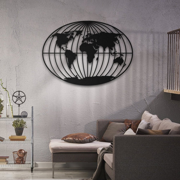 Orbis World Map Hanging Wall Decoration (Metal)