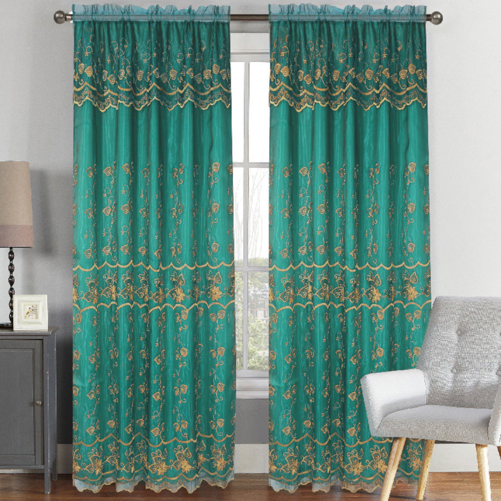 Lisa - Embroidered Drapery Curtain Panel With Backing - Set of Two