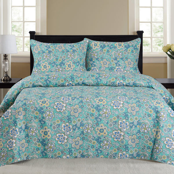 Cynthia 3 Piece Bedding Quilt Set - Turquoise