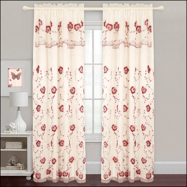 Evelyn - Embroidered Curtain Panel With Backing - Set of 2