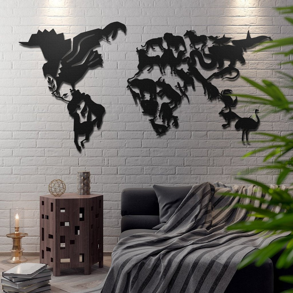 Wildlife World Map Wall Hanging Decoration (Metal)