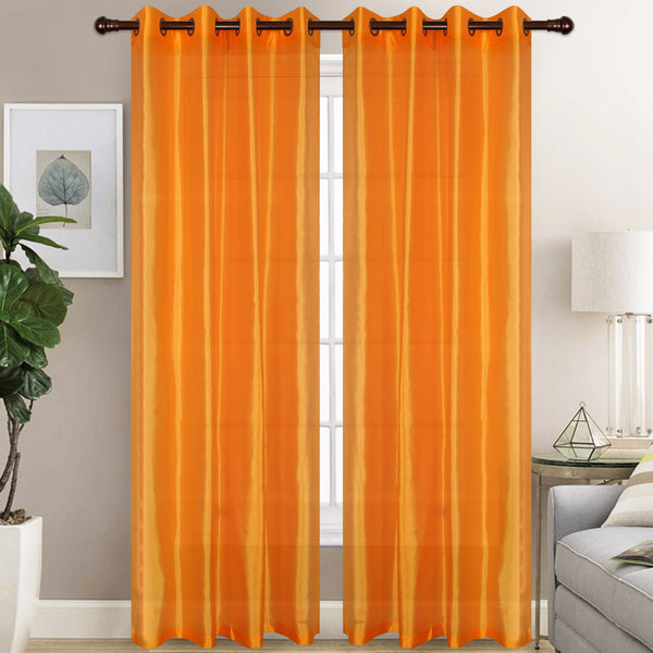 Christina Faux Silk Curtain Sheer (Set of Two)
