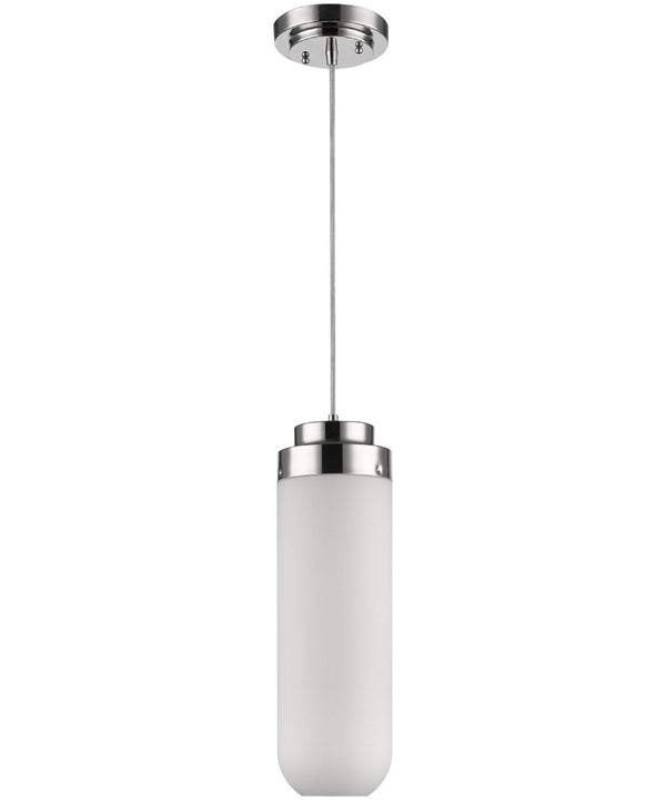Solar 1-Light Polished Nickel Pendant With Frosted Glass Shade