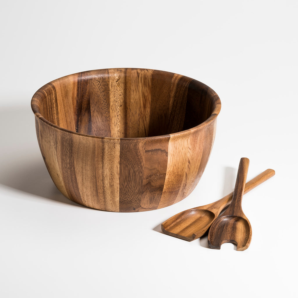 Wood  X-Large Salad Bowl with 2 Servers