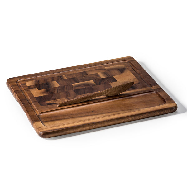 Wood End Grain Cheese Board with Knife (Large Square)