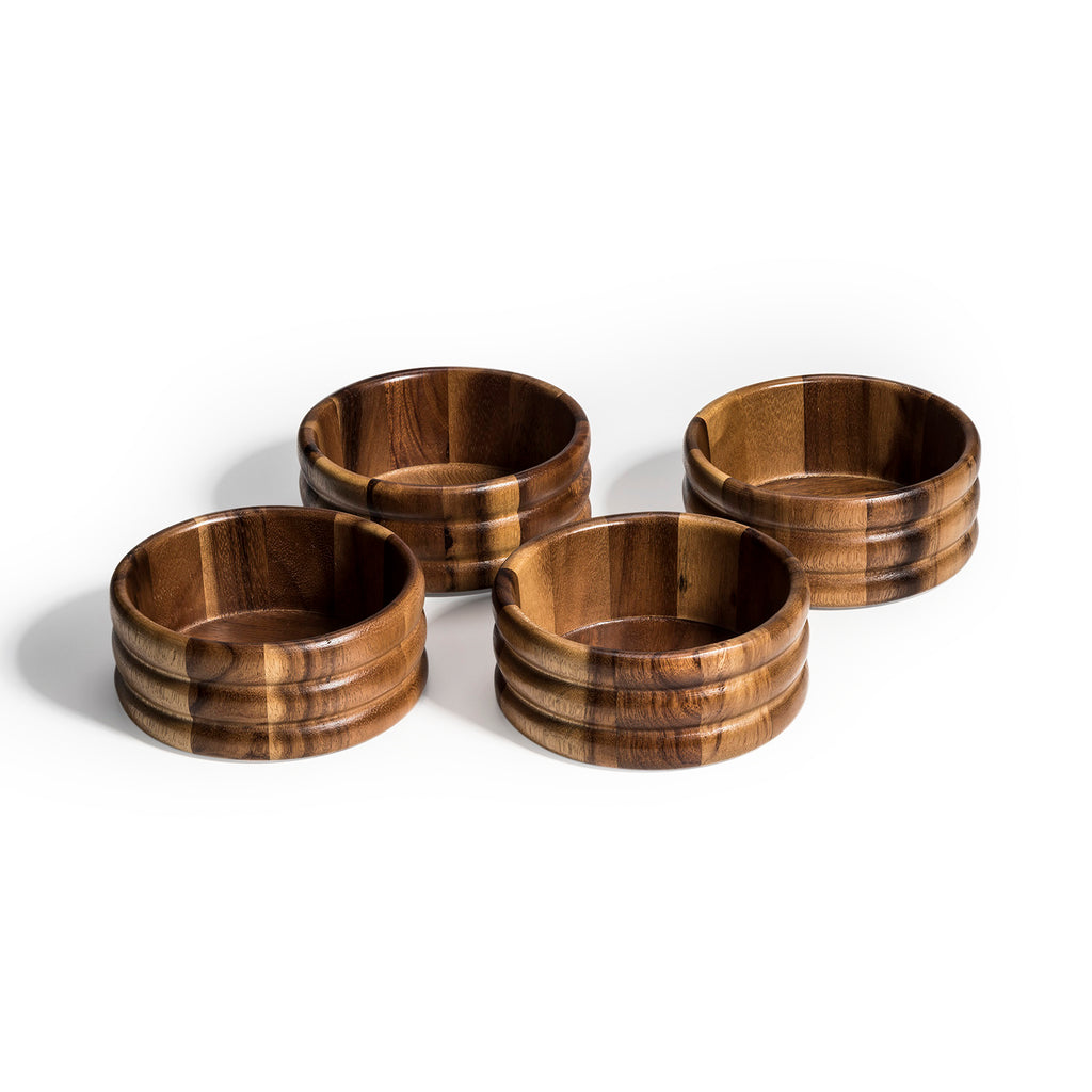 Individual Wood Salad Bowl x 4