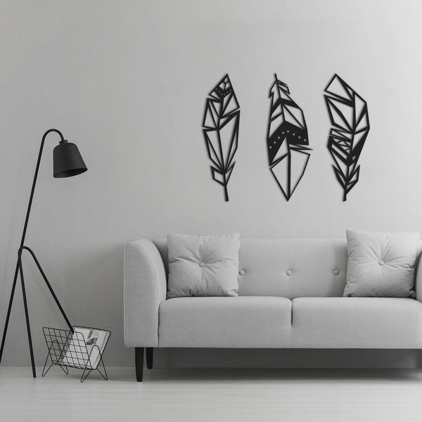 Minimalist GeoFeathers Metal Wall Art