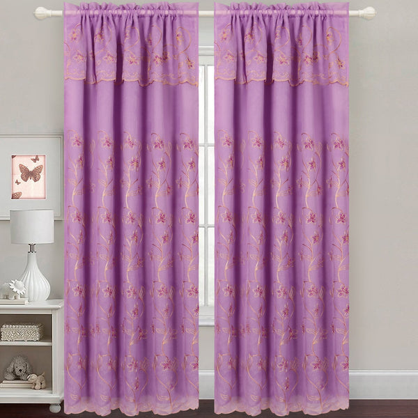 Gabriella - Snow Voile Embroidered Curtain Panel - Set of 2
